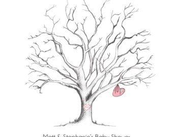 fingerprint guestbook tree alternative baby shower fingerprint tree