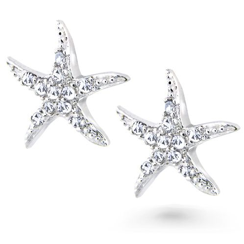 Make A Shimmery Splash Into Nautical Fashion When You Wear Our Gorgeous Silver Cz Pave Starfish Stud Earrings Crafted In 925 Sterling With The