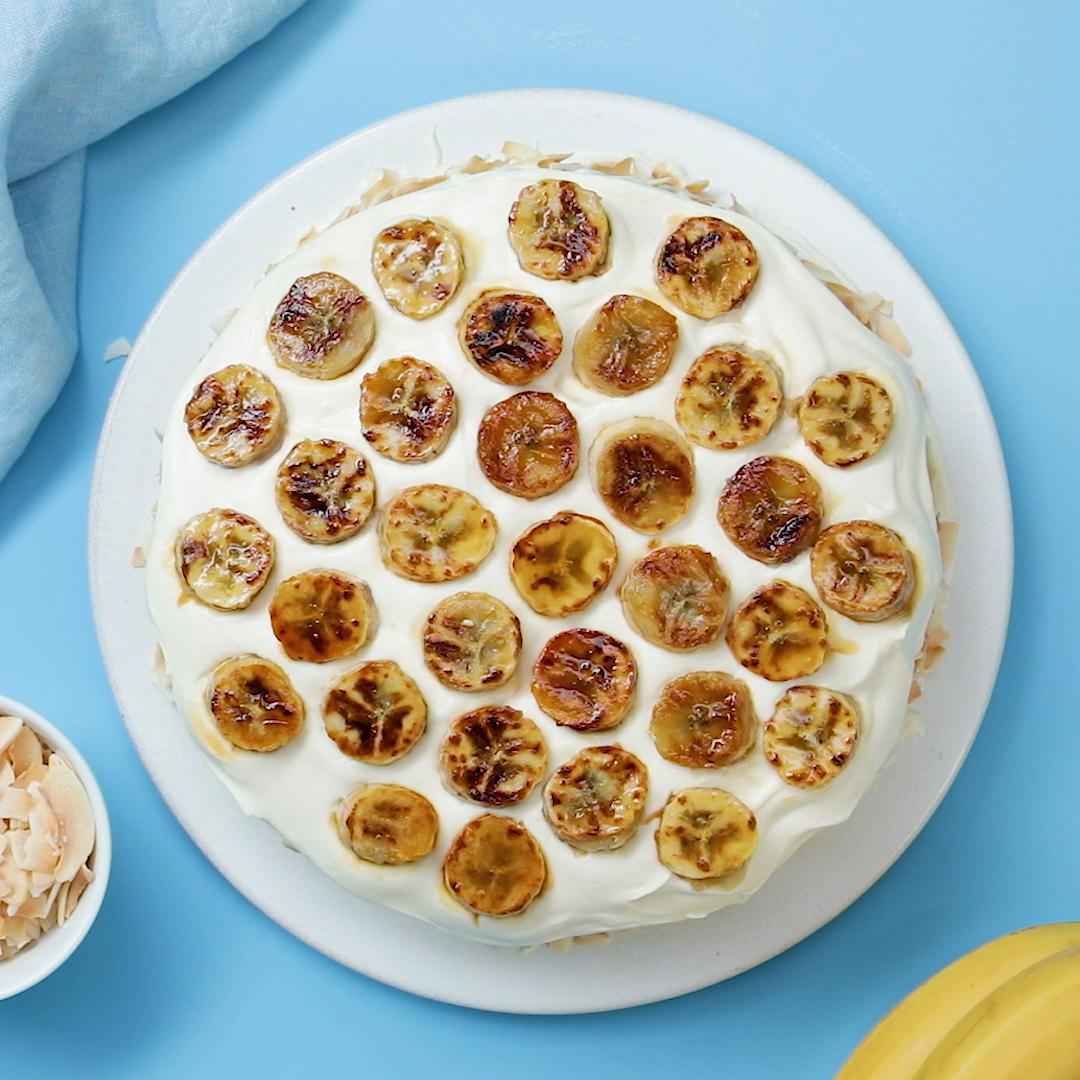 Banana Coconut Tres Leche Cake
