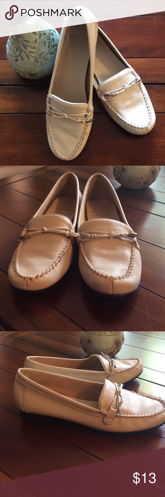 Cute bone colored flats Soft leather with cute silver detail. Worn once....too narrow for me. Excellent condition no flaws. Heel is less than half inch. Mootsies Tootsies Shoes Flats & Loafers