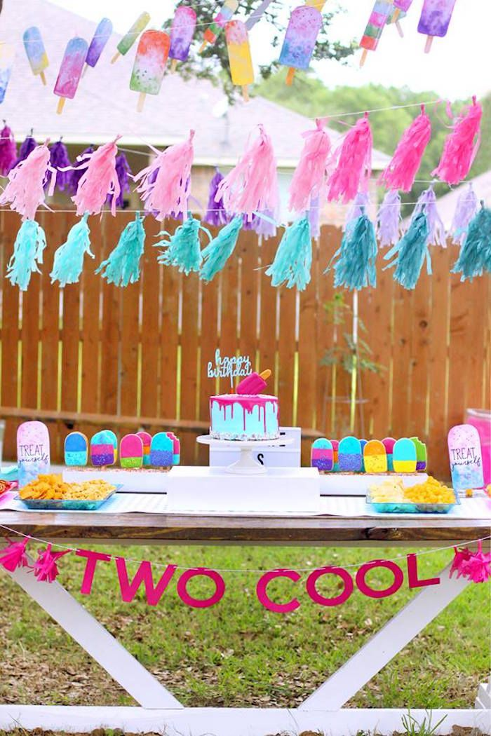 Two Cool Popsicle Themed Birthday Party Kara S Party Ideas 2nd Birthday Party For Girl Popsicle Party Bubble Birthday Parties