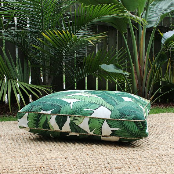 Groene Palm Boxed Square vloer kussen van SquareFoxDesigns op Etsy