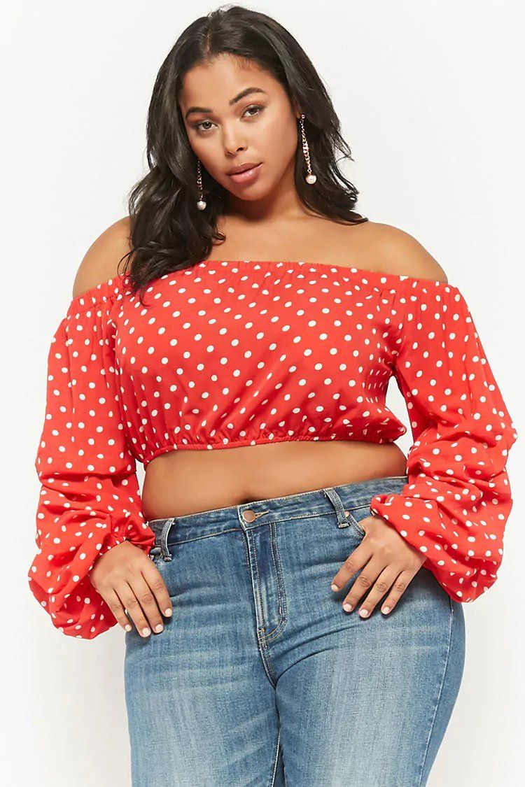 e5908d379b9 Plus Size Polka Dot Off-the-Shoulder Crop Top