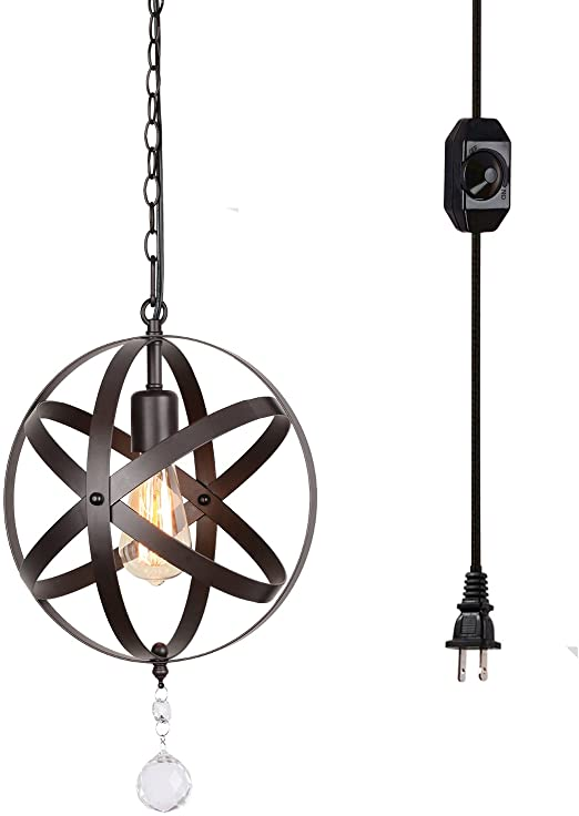 Creatgeek Industrial Plug In Pendant Light 16 4 Ft Hanging Cord And On Off Dimmable Switch Mini Globe Chandelier Vintage Oil Rubbed Bronze Ceiling Light Fixt In 2020