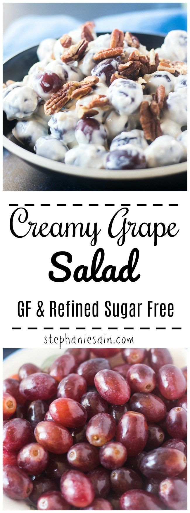 This Grape Salad is creamy, sweet and delicious. Made in under ten minutes in one bowl. Perfect for parties, entertaining, potlucks or anytime you need an easy side salad. Gluten Free & Refined sugar free. #sugarfreedesserts