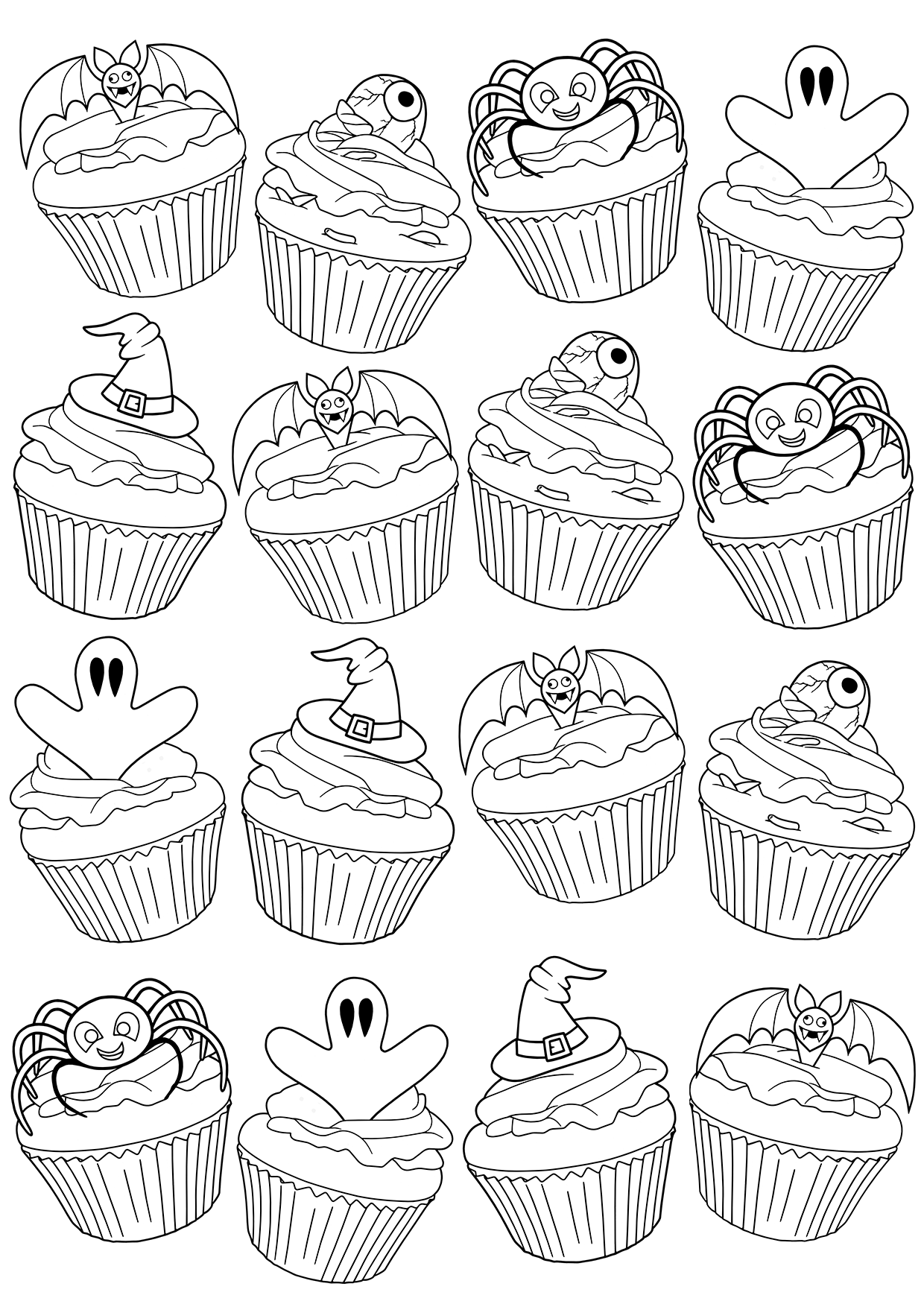 free coloring book page halloween cupcakes by blue star