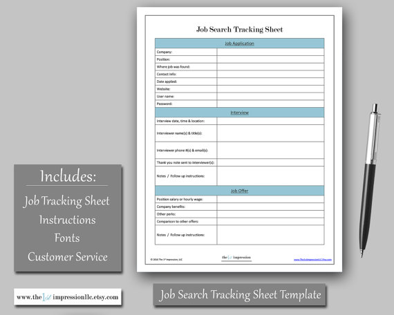 Job Search Tracking Sheet Template Instant Download Microsoft - tracking sheet template