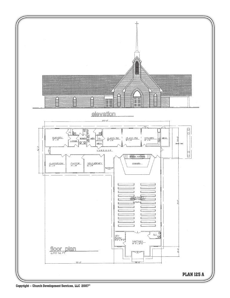 Church Elevation Plan : Small church floor plan designs