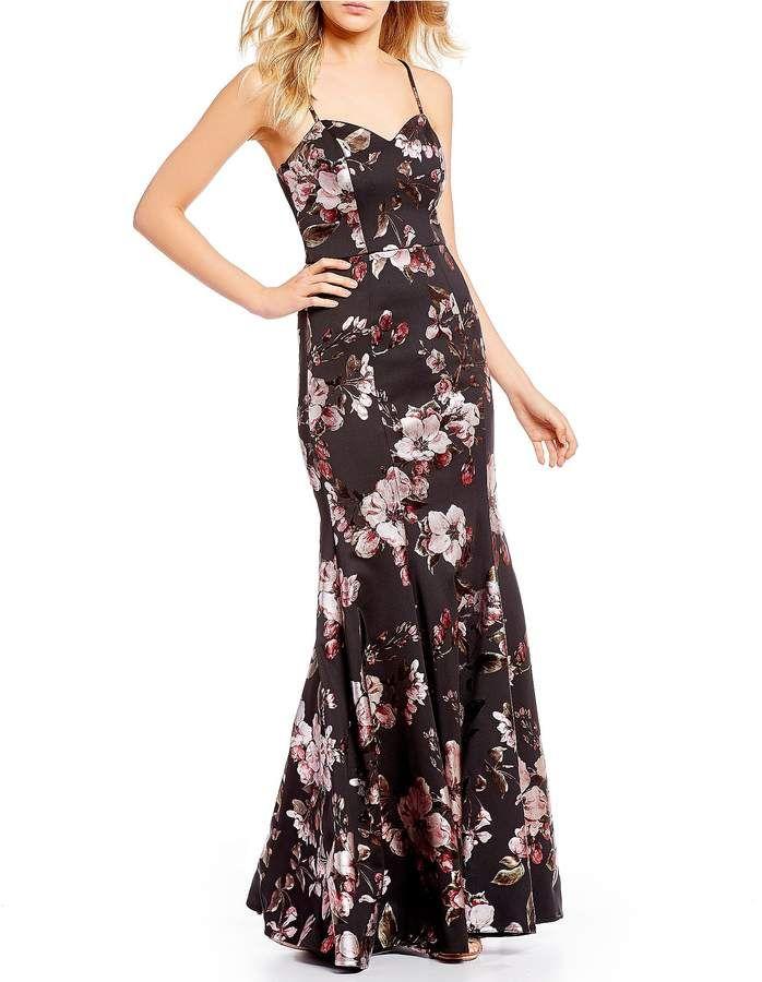 d33f53c5fd7 Foiled Floral-Printed Long Dress  foiled floral printV