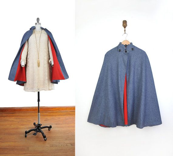 79335a95bfd Vintage 1960s Blue WOOL CAPE Red Lining MOD Military 60s 50s Nurses Uniform  Madmen Mad Men Scooter Fall Autumn Winter Jacket Dress Coat xs on Etsy,  $148.00