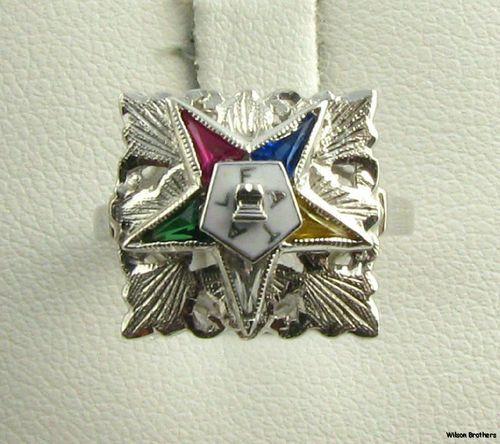 Order of the Eastern Star Ring - 14k White Gold Syn ...