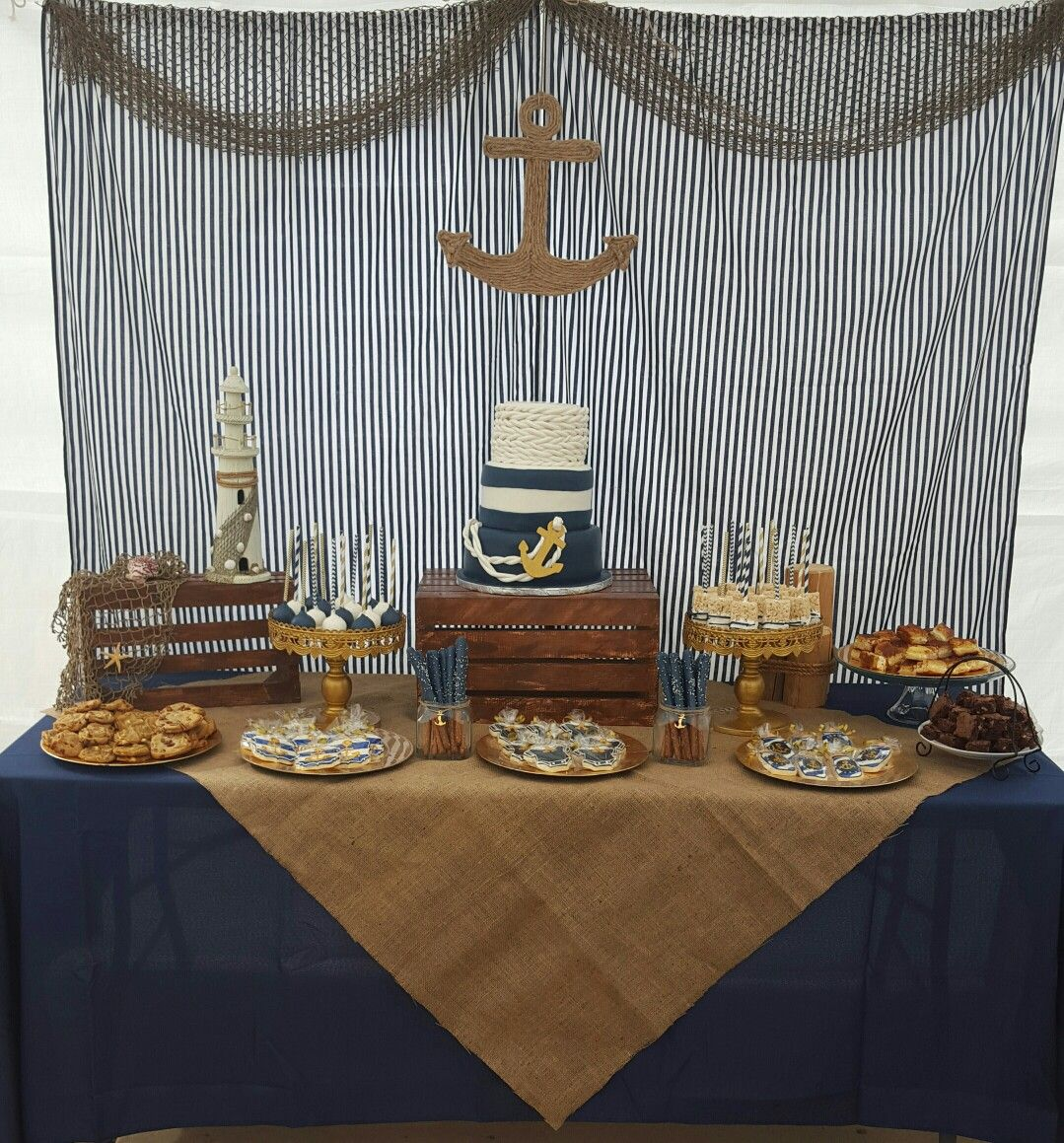 Nautical Baby Shower Theme Dessert Table And Backdrop. Anchor Cake. Navy  Blue And Burlap