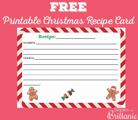 Free Printable Christmas Recipe Card Christmas Recipe Cards Christmas Recipe Cards Printable Free Christmas Printables