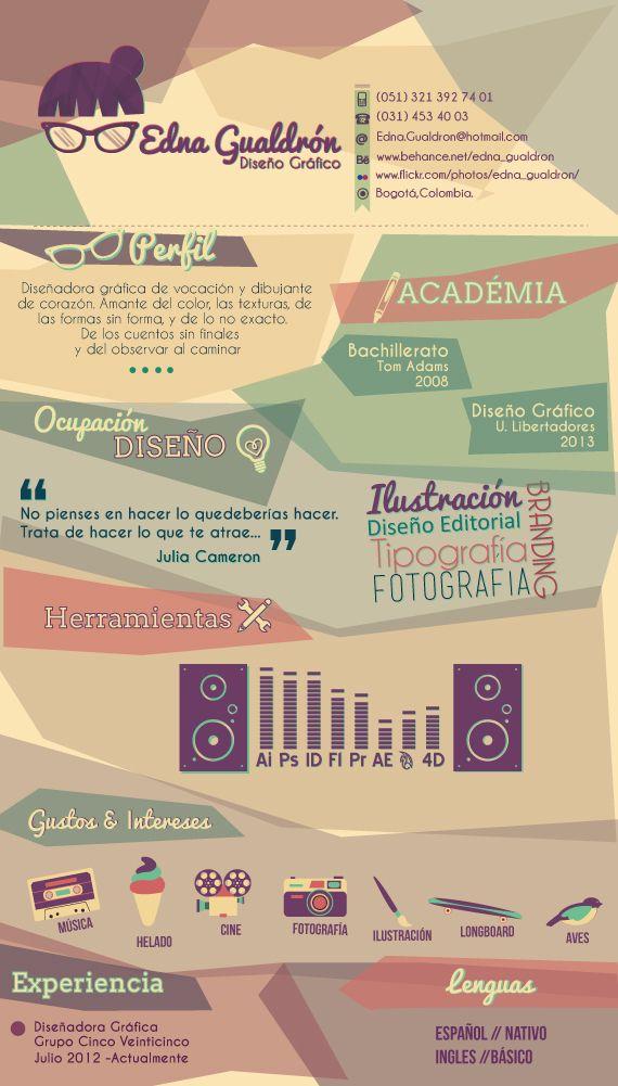 Curriculum Vitae by Edna Gualdrón, via Behance cv design - resume vitae