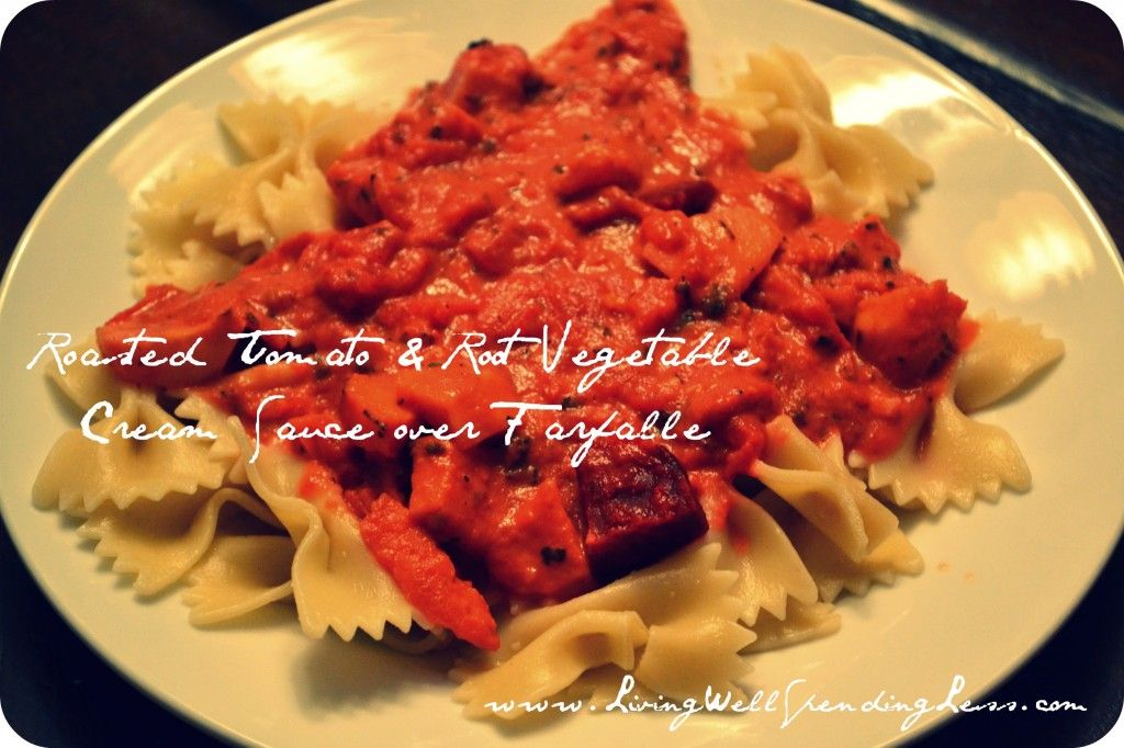 Roasted tomato and root vegetable cream sauce- use up fall veggies for pasta sauce, great for the freezer too