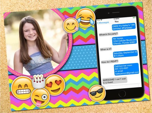 Personalized Emoji Birthday Party Invitation For Teen Or Tween