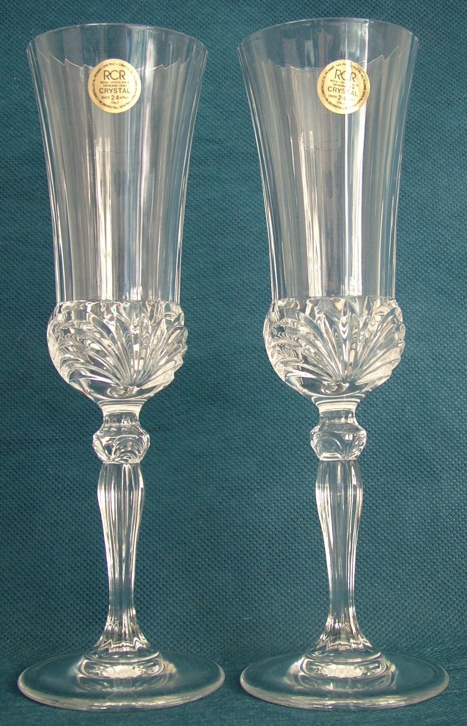 Flute A Champagne Original Pair Of Royal Crystal Rock Rcr Aurea Design Flute Champagne