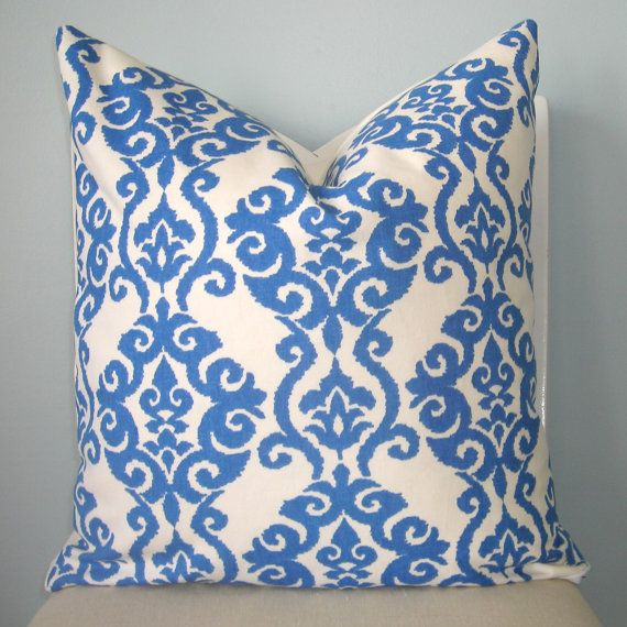 Blue And White Modern Damask Decorative Pillow Cover By Pillowplush Best Decorative Pillow Storage