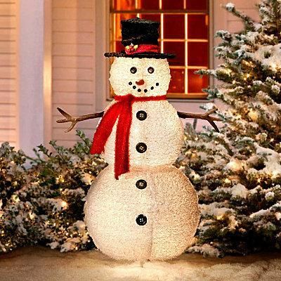 Fluffy Snowman Outdoor Christmas Decoration Stands Over 4 Feet High This Yard Display Folds Flat For Storage