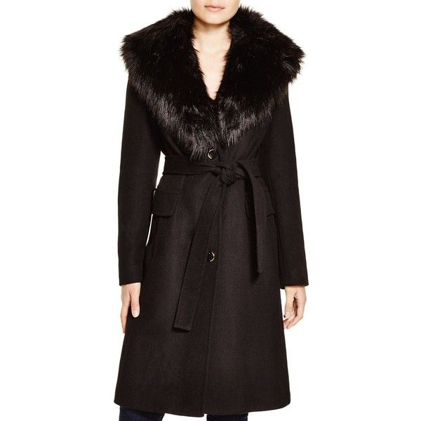 Calvin Klein Belted Coat with Faux-Fur Trim (920 BRL) ❤ liked on Polyvore featuring outerwear, coats, black, belt coat, calvin klein, calvin klein coats, coat with belt and belted coat