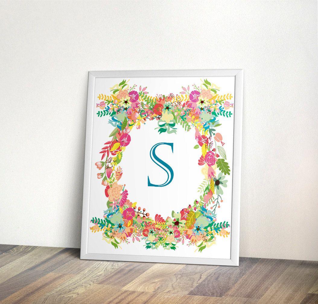 Nursery Monogram Letter Art initial Printable Art by PrintableHome, $5.00