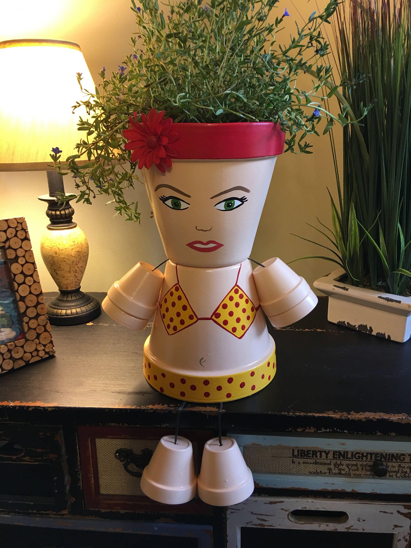 Large Bathing Suit, Girl, Planter, Flower Pot, Flowers, Flower Girl ...