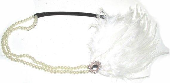 White Feather & Pearl Diamante Flapper Headpiece Headband Great Gatsby 1920s h61 Hairband Hair Band