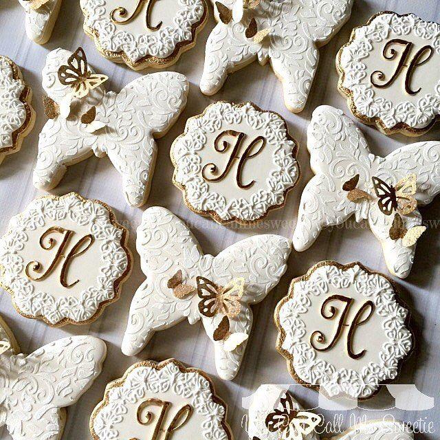 Erfly Monogrammed Bridal Shower Cookies Using One Of My Favorites Round