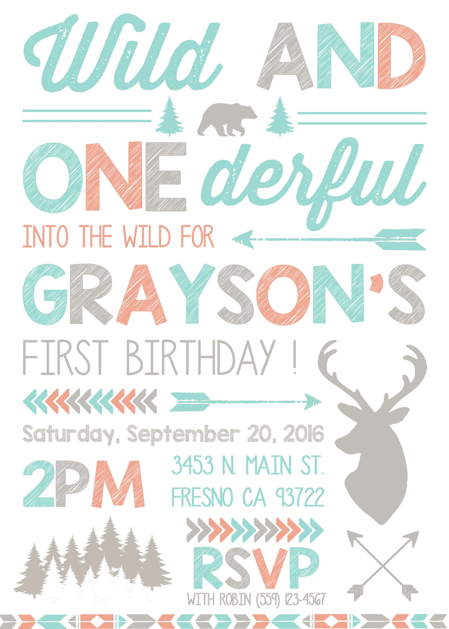 Wild And One Birthday Party Invitation Invite Woodland Deer Forest Camping Bear Woods First