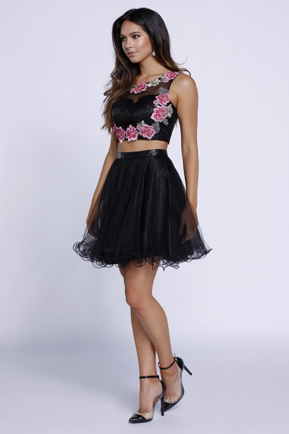 Black rosette two piece dress pinterest rosettes homecoming