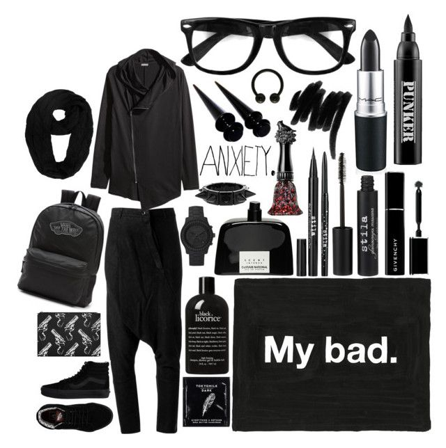 """My bad!"" by carolina-c ❤ liked on Polyvore featuring Stila, ISAAC SELLAM EXPERIENCE, Vans, Yves Saint Laurent, MAC Cosmetics, Ardency Inn, Givenchy, Lancôme, TokyoMilk and philosophy"