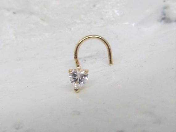 14k Solid Gold Heart cz(3mm) Nose Ring Stud..20g #nosering