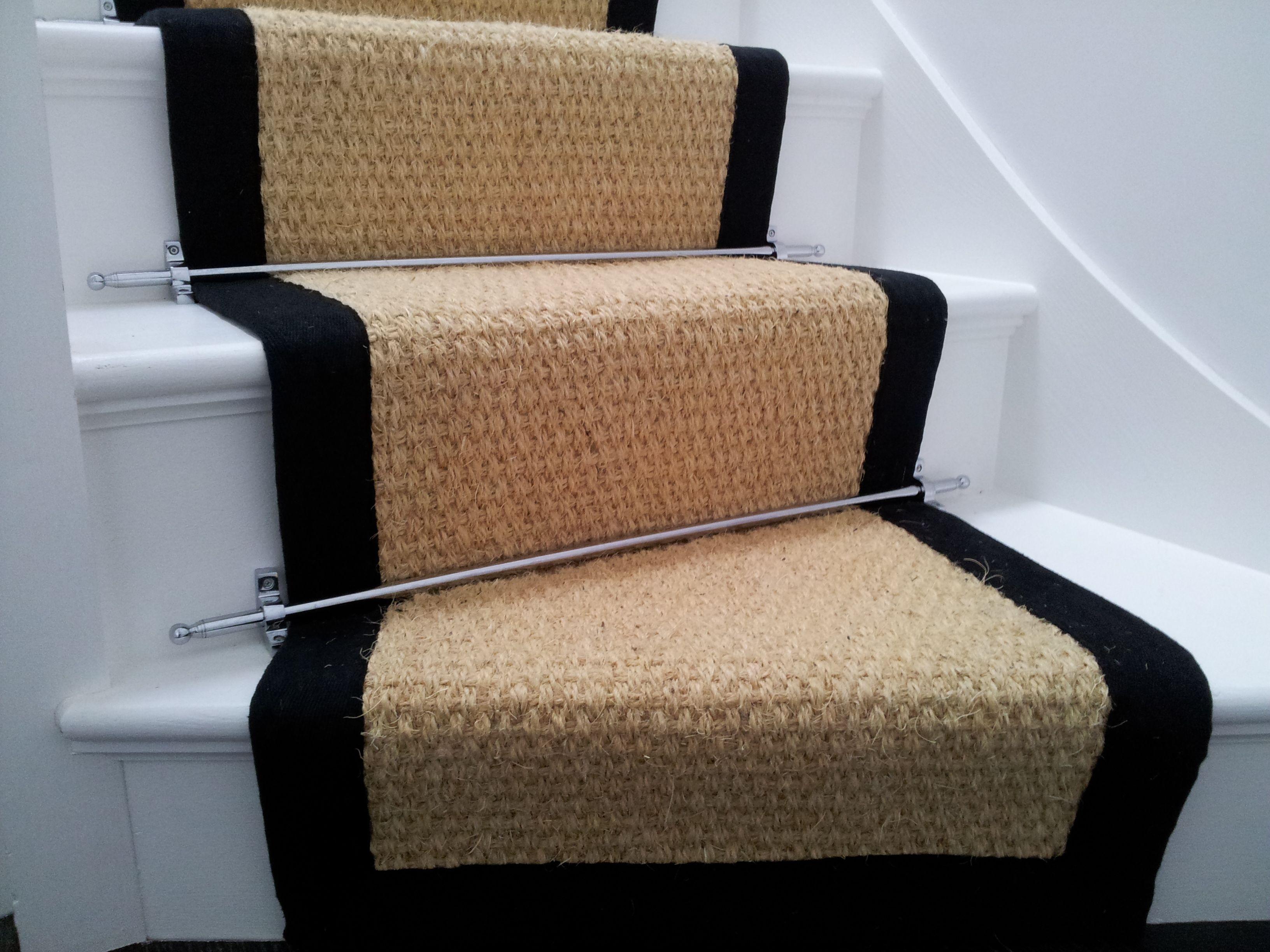 Cozy Seagrass Rug For Floor Decor Ideas: Stair Seagrass Rug With Black Trim For Stair Decor Ideas