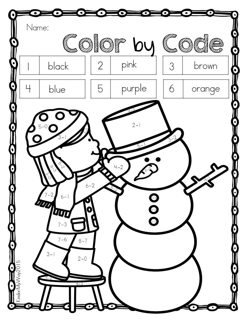 Winter Color by Code for Kindergarten Color by Number