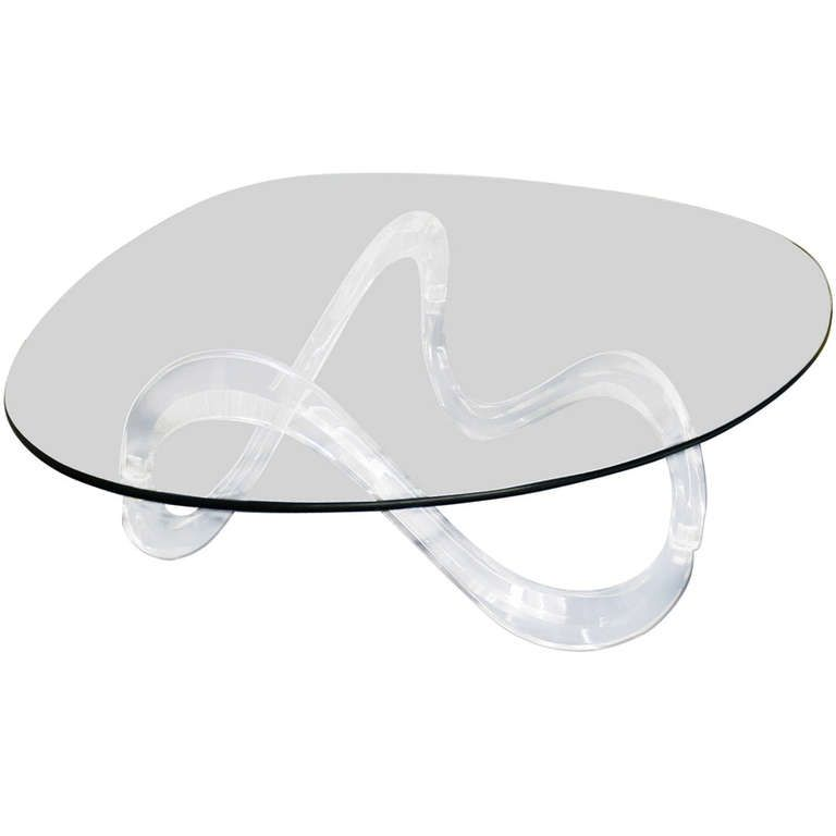 Kidney Shaped Glass Top Lucite Base Coffee Table Tables Girl cave