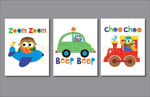 Kids Wall Art Nursery Print Set Transportation Baby Boy Decor