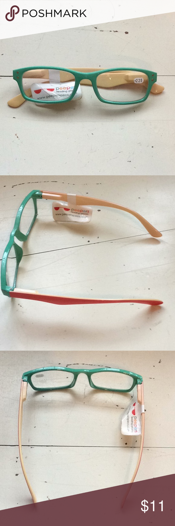 8166e0b7091b Peeper Reading Glasses +2.25 NWT Peepers Reading Glasses Mint Green