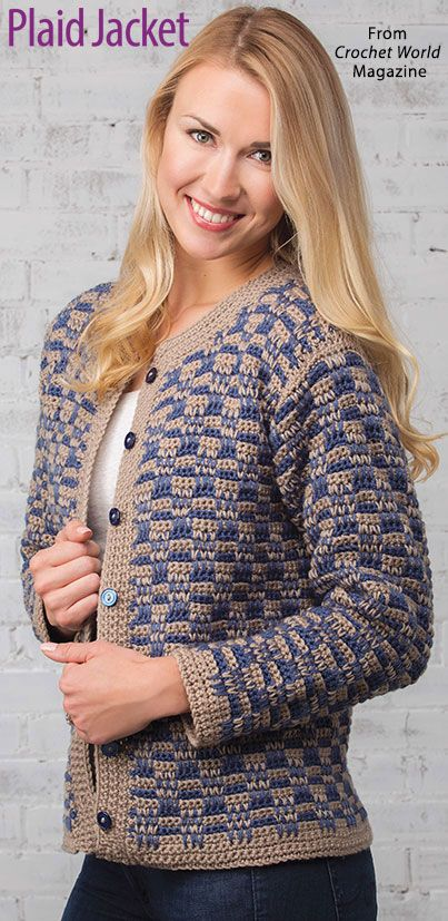 Plaid Jacket from the February 2018 issue of Crochet World Magazine ...