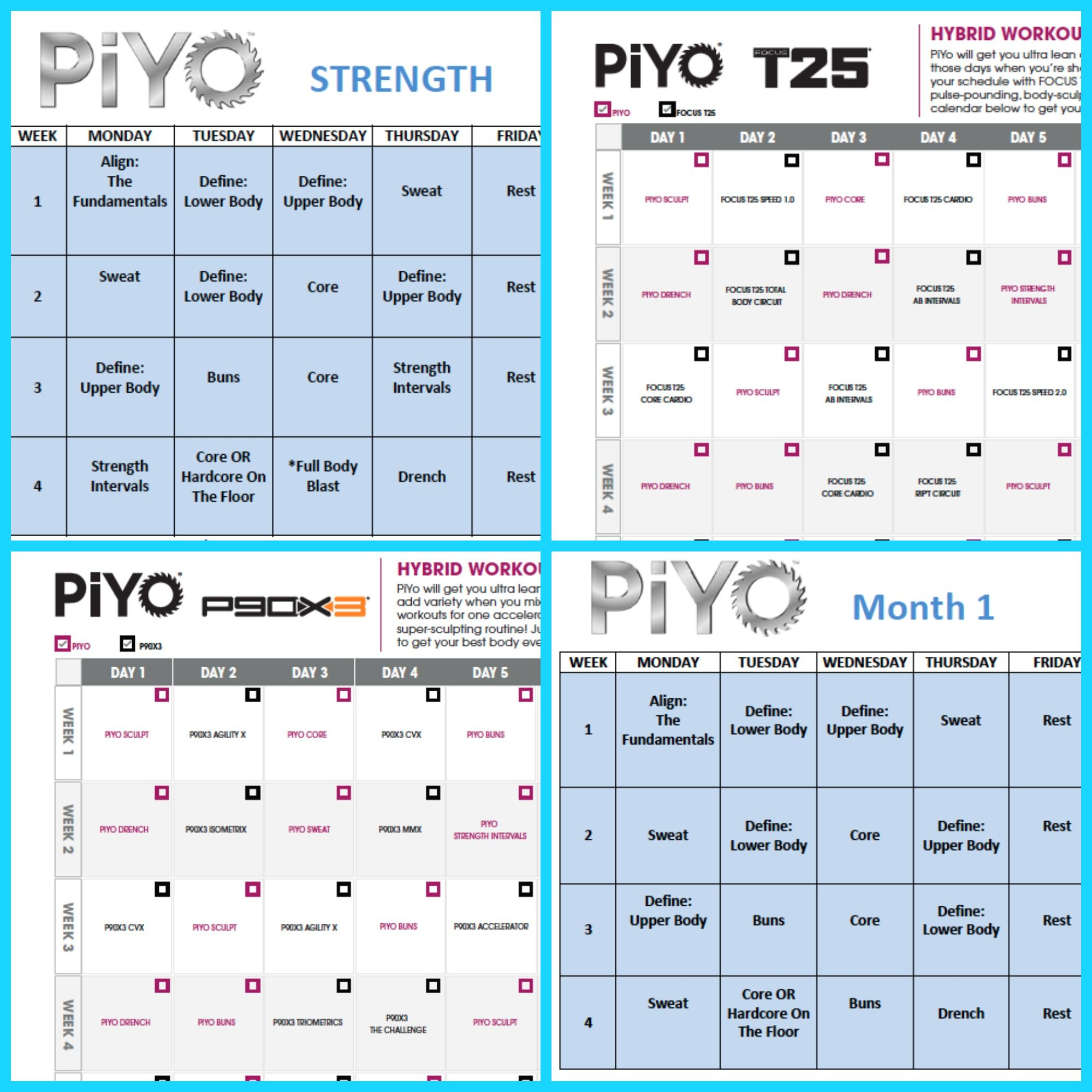 Define Yourself With The Piyo Workout Schedule Piyo By