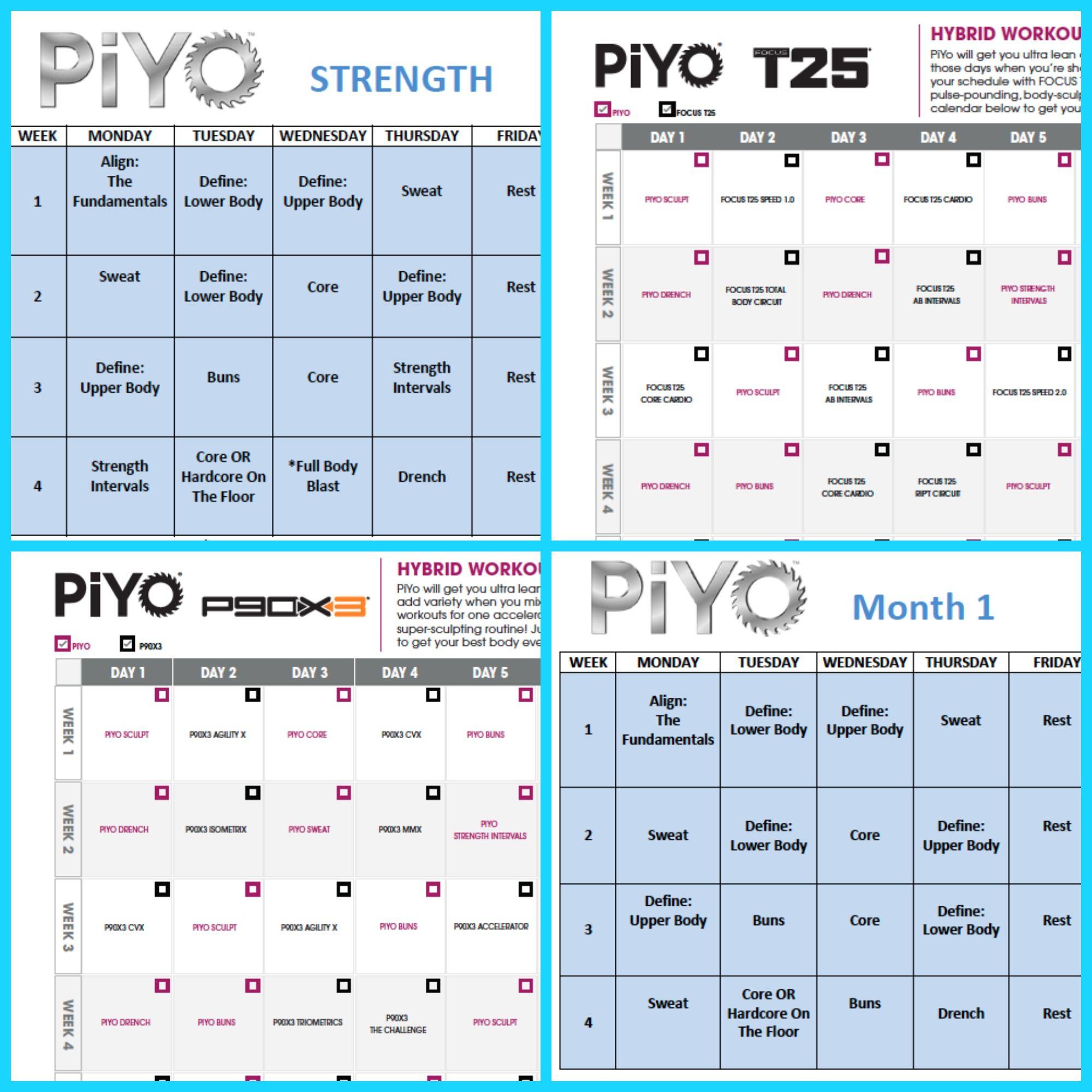Piyo Workout Schedule Zillafitness Com Chad Pink Piyo Workout Piyo Workout Schedule Workout Schedule