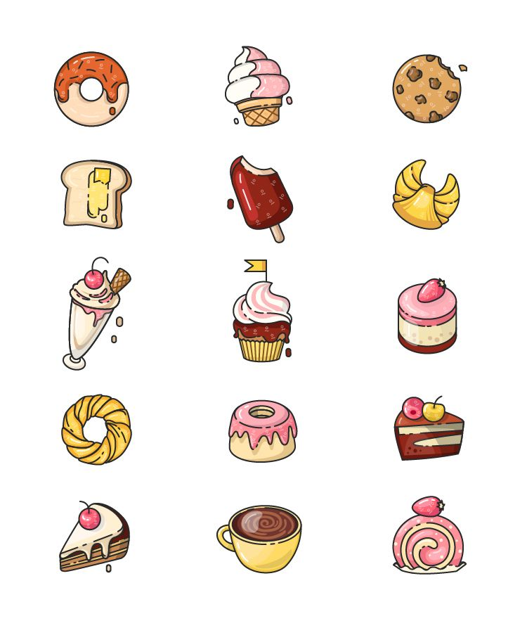 Check Out This Behance Project Dessert Icons Https Www Behance Net Gallery 42650753 Dessert Icons Mini Drawings Cute Easy Drawings Cute Food Drawings