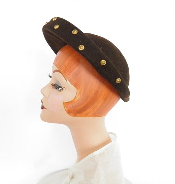 Vintage 1940s hat woman's  brown halo WW2 by TheVintageHatShop