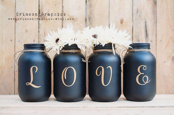 painted mason jars #paintedmasonjars Bemalte Einmachglas Quart Hochzeit Herzstck Bouquet Vase Home Decor Set von 4 - G ...  #bemalte #bouquet #decor #einmachglas #herzstuck #hochzeit #quart