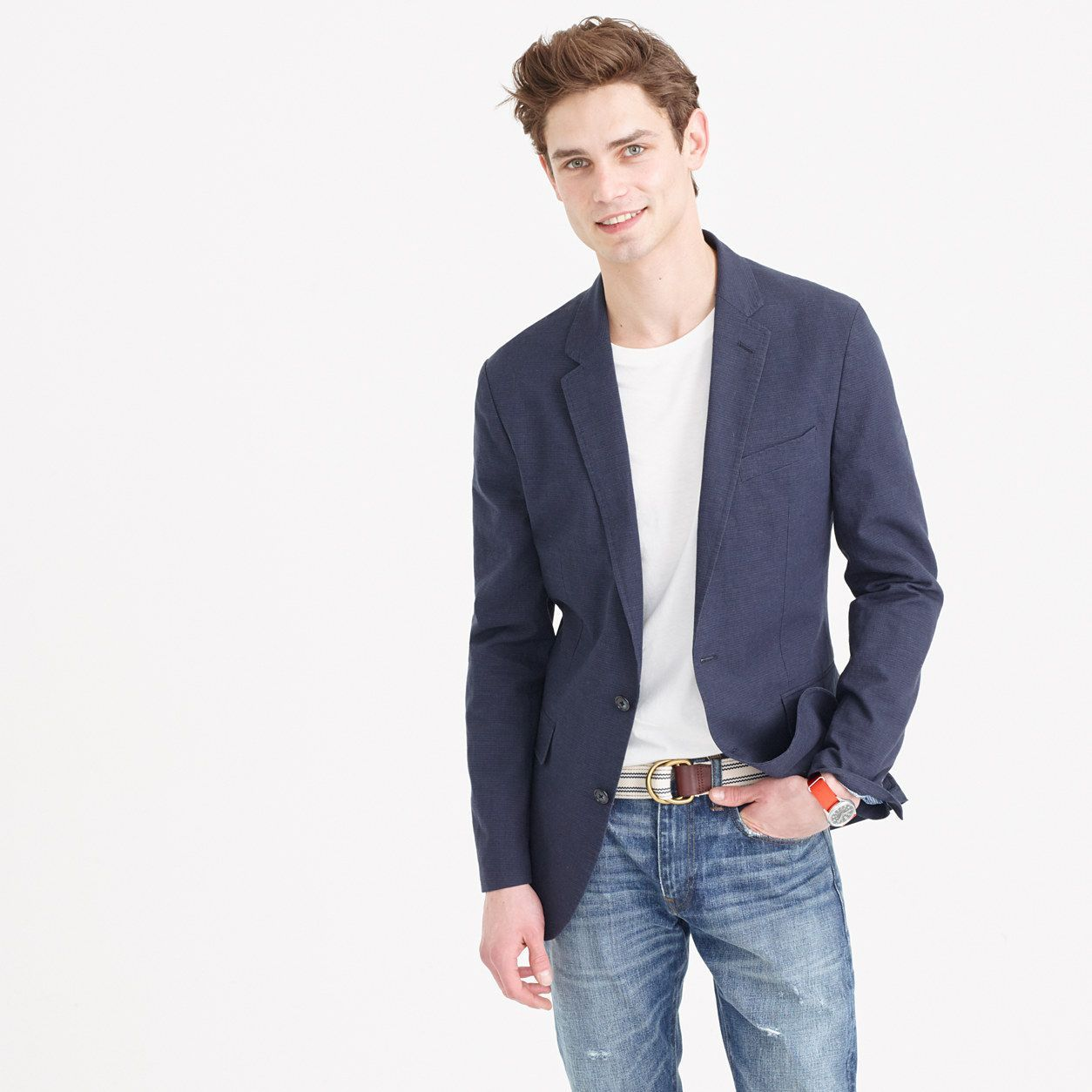 0a7f714e11 J.Crew Mens Unstructured Ludlow Cotton-Linen Blazer In Coastline Navy (Size  44 Regular)