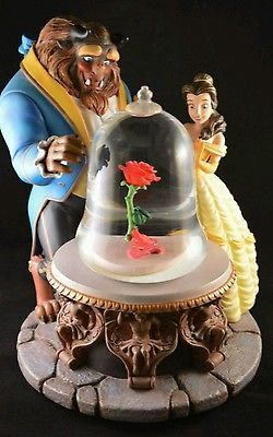 Beauty and the Beast large rose snowglobe