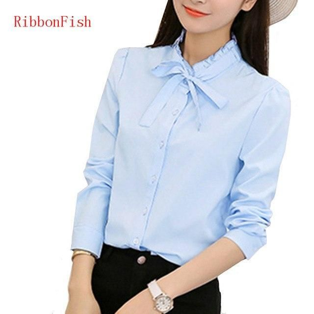 c8a56948f Summer Women Office Work OL Wear Chiffon Blouses Shirt Lady Girsl Long  Sleeve Bow Tie Decor O-Neck Blusas Shirts DF1172