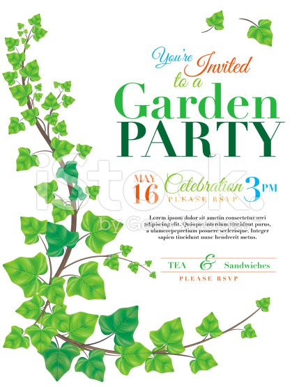 ivy garden party vertical invitation template on white background