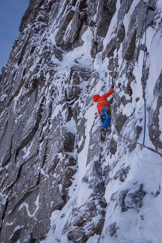 First winter ascent of the Sagwand by David Lama, Peter Ortner, and