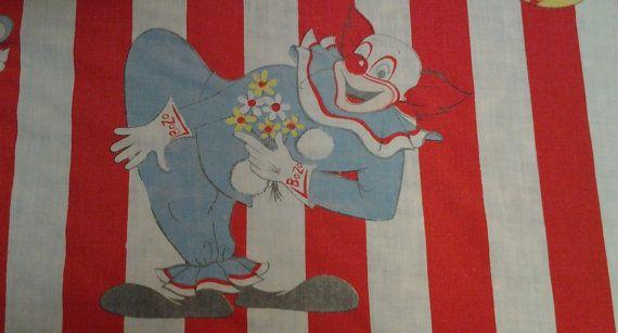 Vintage 1970's Bozo Circus Bedspread Linen Pom by LipstickLounge, $75.00