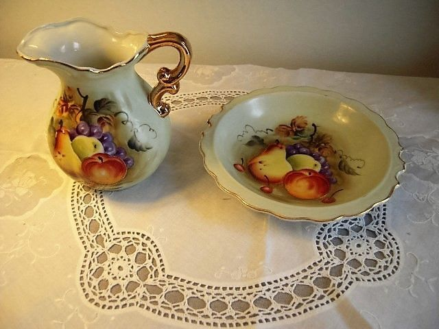 Lefton China Decorative Water Pitcher With Basin Wash Bowl Impressive Decorative Water Pitcher